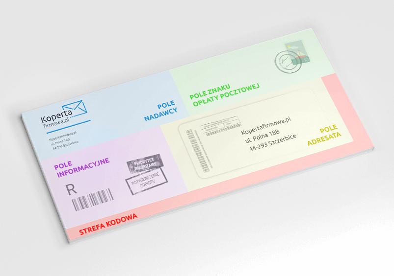 Projekt koperty firmowej z podziałem na pola